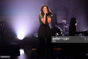 "SATURDAY NIGHT LIVE -- ""Scarlett Johansson"" Episode 1720 -- Pictured: Musical guest Lorde performs on March 11, 2017 -- (Photo by: Will Heath/NBC/NBCU Photo Bank/NBCU Photo Bank)"