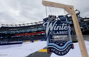 prior to the 2016 Bridgestone NHL Winter Classic between the Montreal Canadiens and the Boston Bruins at Gillette Stadium on January 1, 2016 in Foxboro, Massachusetts.
