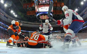 of the Philadelphia Flyers of the Washington Capitals in Game Six of the Eastern Conference First Round during the 2016 NHL Stanley Cup Playoffs at the Wells Fargo Center on April 24, 2016 in Philadelphia, Pennsylvania.
