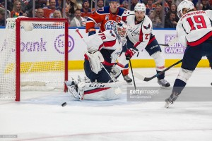 26 October 2016: Goaltender Brayden Holtby #70 of the Washington Capitals in action during the Washington Capitals game versus the Edmonton Oilers at Rogers Place in Edmonton, Alberta. (Photo by Curtis Comeau/Icon Sportswire)