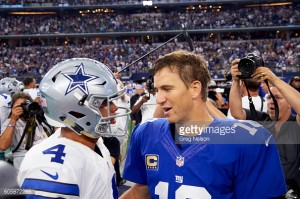 Football: Dallas Cowboys QB Dak Prescott (4) with New York Giants QB Eli Manning (10) after game at AT&T Stadium. Arlington, TX 9/11/2016 CREDIT: Greg Nelson (Photo by Greg Nelson /Sports Illustrated/Getty Images) (Set Number: SI541 TK1 )